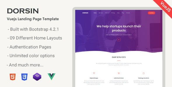 Dorsin - VueJs Landing Page Template - Corporate Site Templates