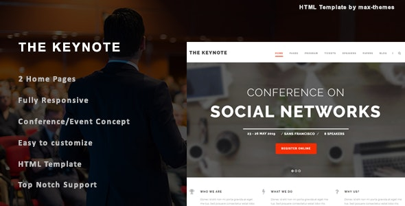 The Keynote - Conference/Event HTML Template - Corporate Site Templates