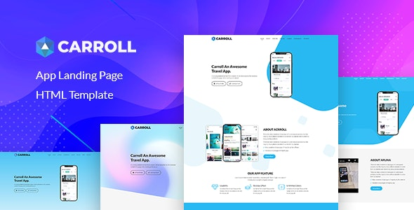 Carroll - App Landing Page HTML Template - Technology Site Templates