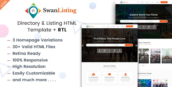 SwanListing - Directory and Listing HTML Template - Business Corporate