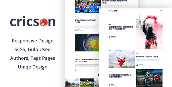 Cricson - Responsive & Magazine Bootstrap 4 Template by themeix