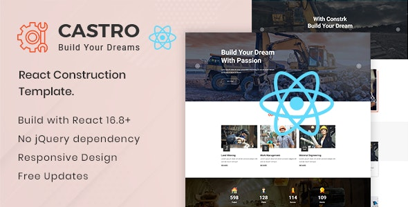 Castro – React Construction Template - Corporate Site Templates