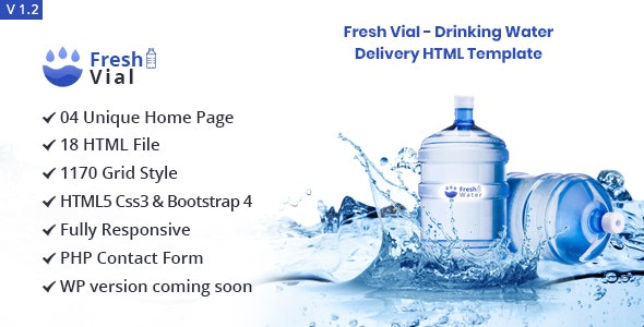 Fresh Vial - Drinking Mineral Water Delivery Bootstrap4 HTML Template - Nonprofit Site Templates