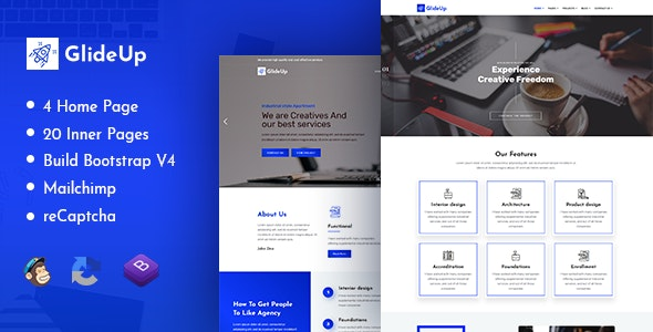 GlideUp - Creative Corporate Business Agency HTML Template - Site Templates