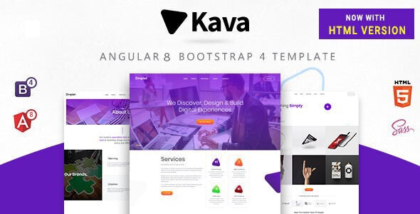 Kava : Angular 8 Bootstrap 4 Template + HTML - Miscellaneous Site Templates