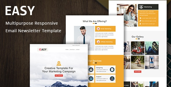 Easy - Multipurpose Responsive Email Template with Online StampReady Builder & Mailchimp Editor - Newsletters Email Templates
