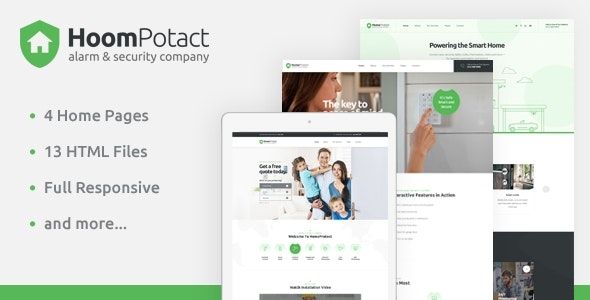 HoomPotact - Smart Alarm & Security Systems HTML Template - Business Corporate