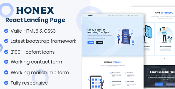 HONEX - Bootstrap 4 React Apps Landing Page by ThemeAtelier