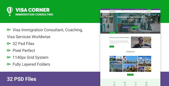 Visa Corner | Immigration and Consulting Psd Template - Corporate Photoshop