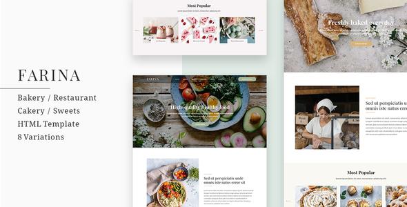 Farina - Bakery / Restaurant / Cakery HTML Template - Restaurants & Cafes Entertainment