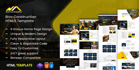 Bivo- Construction & Business Bootstrap4 Template - Business Corporate