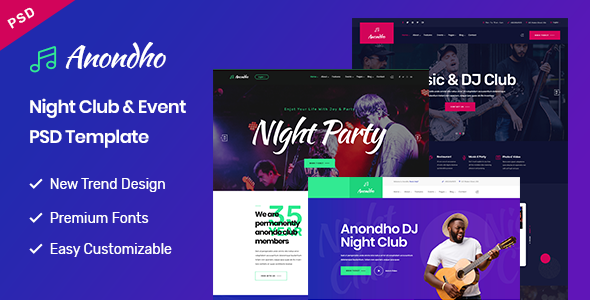 Anondho - Night Club & Event PSD Template - Nightlife Entertainment