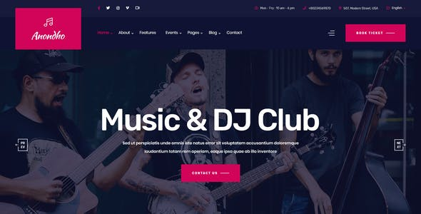 Anondho - Night Club & Event PSD Template