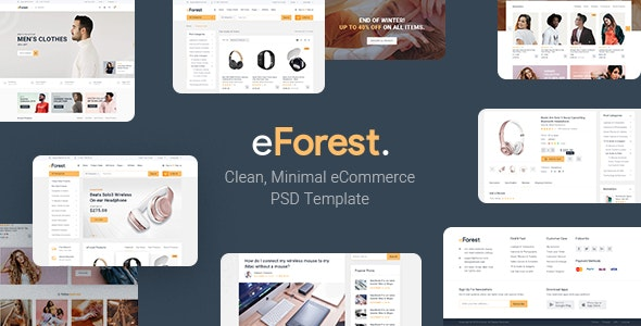 eForest - Clean, Minimal eCommerce PSD Template - Electronics Technology