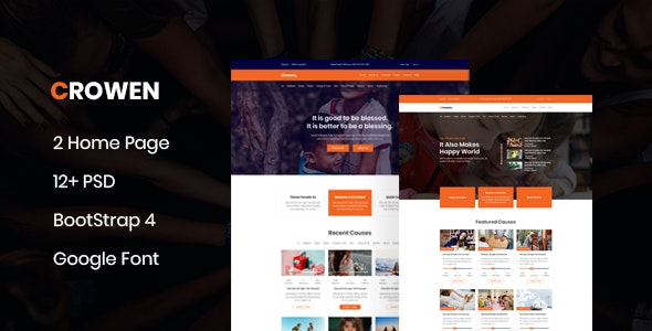Crowen - Charity Crowdfunding & Fundraising PSD Template - Charity Nonprofit