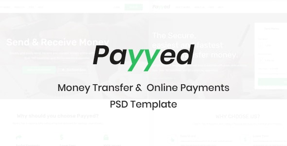 Payyed - Money Transfer & Online Payments PSD Template - Business Corporate