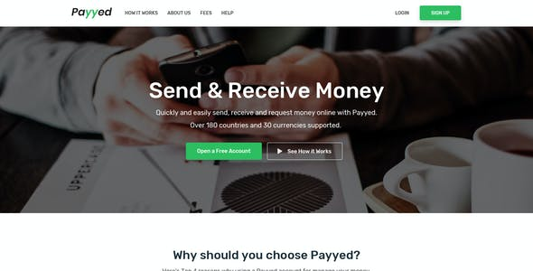 Payyed - Money Transfer & Online Payments PSD Template