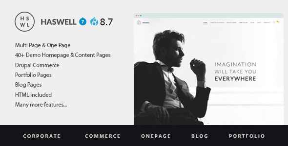 Haswell - Multipurpose One And MultiPage Drupal 8 & 7 Theme - Business Corporate