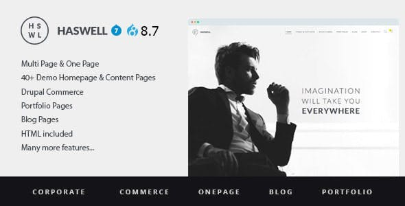 Haswell - Multipurpose One And MultiPage Drupal 8 and 7 Theme