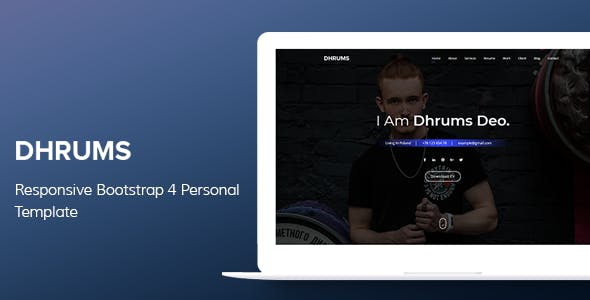 Dhrums - Responsive Bootstrap 4 Personal Template nulled theme download