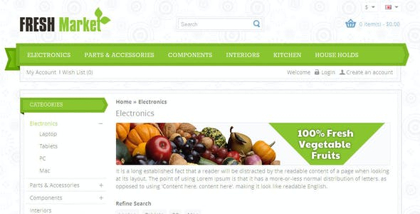 Fresh Market - OpenCart 2 & 3 Responsive Theme