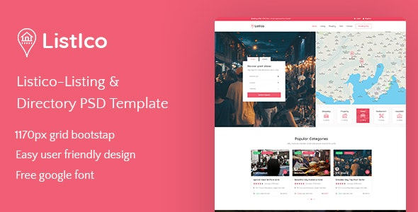 Listico - Listing & Directory PSD Template - Business Corporate
