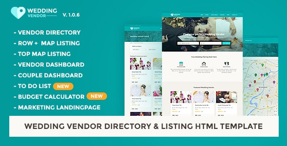 Wedding Vendor Directory & Listing HTML5 Template - Wedding Site Templates