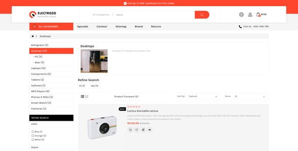 Electrozo - Responsive Multipurpose OpenCart 3 Theme