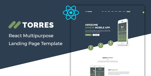 Torres – React App Landing Page Template - Technology Site Templates