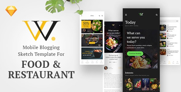 W - Mobile and App Blogging Templates for Food and Restaurants - Sketch Templates
