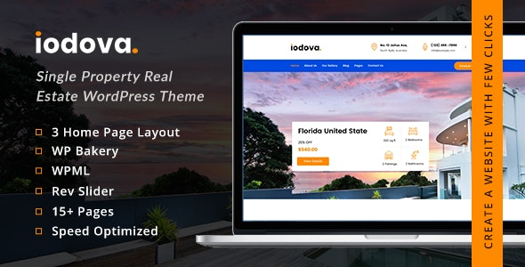Iodova - Single Property Real Estate WordPress Theme - Real Estate WordPress