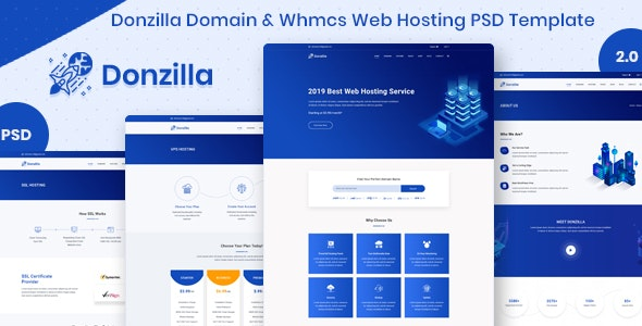 Donzilla Domain & Whmcs Web Hosting PSD Template - Hosting Technology
