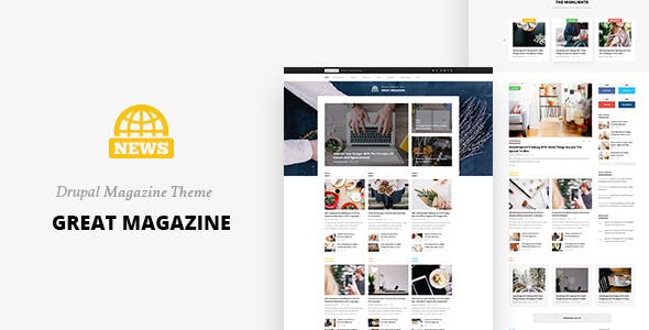 Great - Responsive Magazine News Drupal 8.7 Theme by gavias