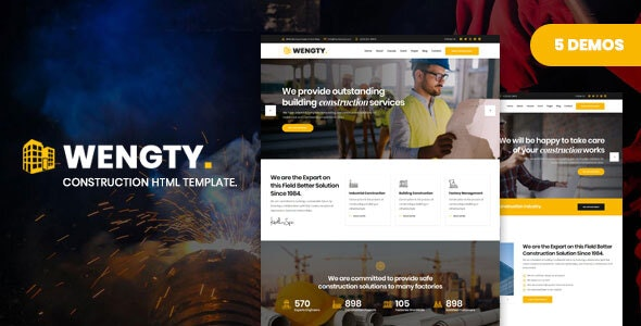 Wengty - Construction & Building HTML Template - Business Corporate