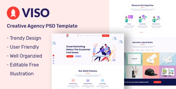 VISO - One Page Creative Agency PSD Template - Creative PSD Templates