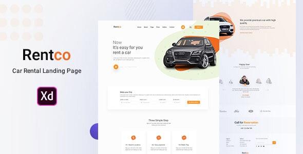 Rentco - Car Rental Landing Page - Sketch Templates