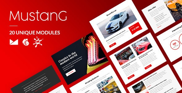 Mustang Email-Template + Online Builder - Newsletters Email Templates