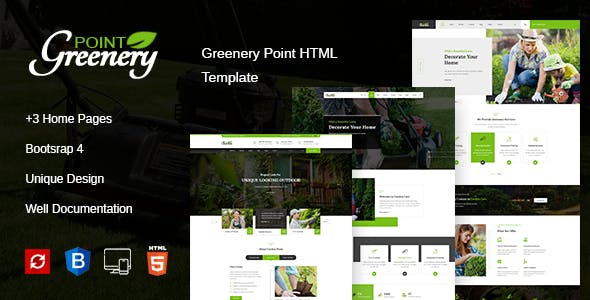 Greenery Point - Gardening and Landscaping HTML Template + RTL