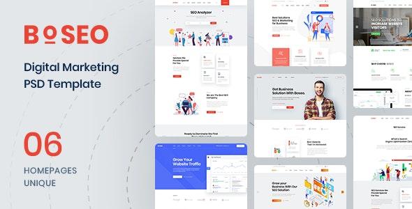 Boseo - SEO & Digital Marketing PSD Template - Marketing Corporate