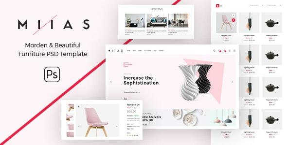 MIIAS - Modern & Beautiful Furniture Store PSD Template - Retail Photoshop