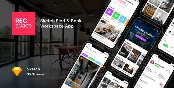 RECspace - Sketch Find & Book Workspace App - Sketch UI Templates