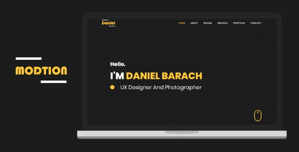 Modtion - Creative One Page Personal - Virtual Business Card Personal