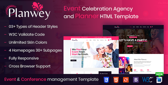 Planwey - Event Planner & Celebrations Management HTML Template by ThemetechMount