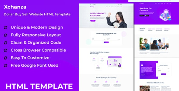 Xchanza - Dollar Buy Sell Website HTML Template by IdealBrothers