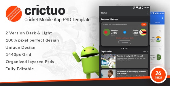 Crictuo - Cricket Mobile App PSD Template - Miscellaneous Photoshop