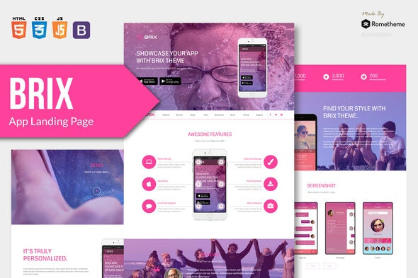 BRIX - Mobile App landing page HTML Template - Technology Site Templates