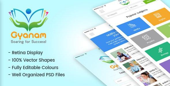 Gyanam - PSD Teacher & Tutor App - Creative PSD Templates