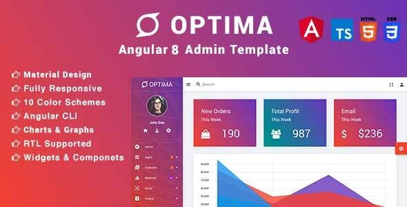 Optima - Angular Material Design Admin Template by
