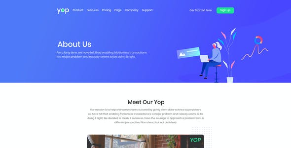 Yop  – Cloud &  IT Software PSD Template