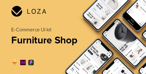 LOZA - Furniture Shop UI Kit - Sketch UI Templates